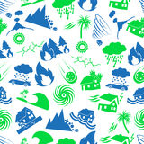 Various natural disasters problems in the world icons seamless pattern eps10 Stock Photo