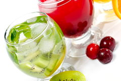 Various natural fresh juice and fruits Royalty Free Stock Photos