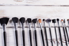 Various natural makeup brushes. Royalty Free Stock Photography
