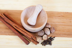 Various natural spices with pestle and mortar Royalty Free Stock Image