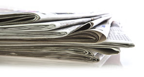 Various newspapers. Over white background Royalty Free Stock Photos