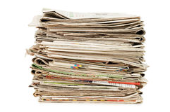 Various newspapers over white Royalty Free Stock Image