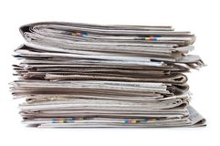 Various newspapers over white Royalty Free Stock Photography
