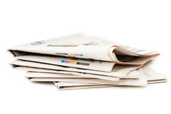Various newspapers over white background Royalty Free Stock Photo
