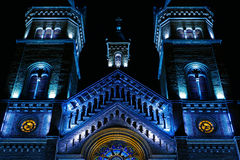 Various night lighting of the Cathedral Millenium from Timisoara Stock Photography