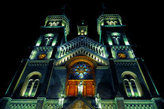 Various night lighting of the Cathedral Millenium from Timisoara Royalty Free Stock Photography