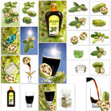 Various noni fruit products, collage Stock Photo