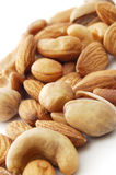 Various nuts. Close-up on the white background Stock Photo