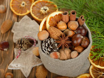 Various nuts in a bag Stock Images