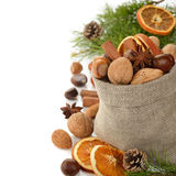 Various nuts in a bag Stock Photography