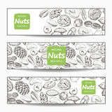 Various nuts banners Royalty Free Stock Photography