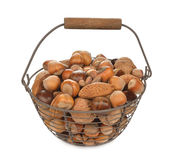 Various nuts in a basket Stock Photos