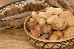 Various nuts in a bowl Stock Photos