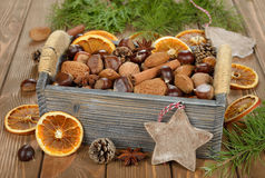 Various nuts in a box Royalty Free Stock Image
