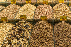 Various nuts and dried fruits on a counter on the Grand Bazaar in Istanbul Royalty Free Stock Photography
