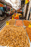 Various nuts and dried fruits on the Mahane Yehuda Market. Stock Image