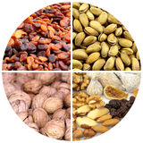Various nuts and dried fruits Stock Photo