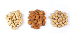 Various nuts isolated Stock Photo