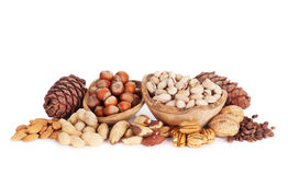 Various nuts. Isolated Royalty Free Stock Images