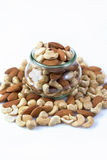 Various nuts in a jar Royalty Free Stock Photo