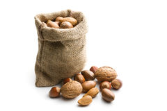 Various nuts in jute bag Stock Photography