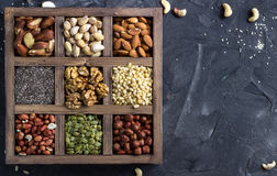 Various nuts and seeds. Royalty Free Stock Image