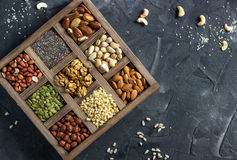 Various nuts and seeds. royalty free stock photography