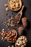 Various nuts on stone table royalty free stock photo