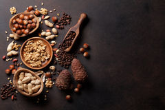 Various nuts. On stone table. Top view with copy space Royalty Free Stock Images
