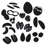Various nuts types black icons set Stock Photography