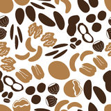 Various nuts types brown seamless pattern Royalty Free Stock Photography