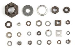 Various nuts and washers. Royalty Free Stock Images