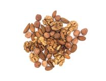 Various nuts on white background stock images
