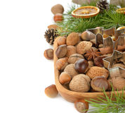 Various nuts in a wooden bowl Royalty Free Stock Photos