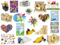 Various objects from paper and a cardboard Royalty Free Stock Images