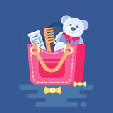 Various objects popping out from the bag. Vector illustration of handbag with stuff. Clipart of ladies bag with check, teddy bear, comb, candy. Trend modern Stock Photos