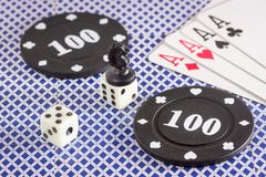 Various objects for popular board games. Such as chess poker and other Royalty Free Stock Images