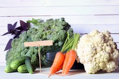 Fresh vegetables rustic wooden background Royalty Free Stock Photography