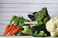 Fresh vegetables rustic wooden background Stock Photos
