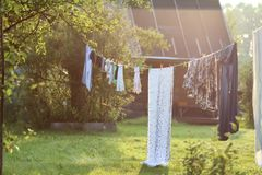 Outdoor clothesline clothespin. Various objects of the summer season in the best of this wonderful period Stock Photography