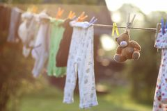 Toy clothesline clothespin. Various objects of the summer season in the best of this wonderful period Stock Photo