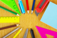 Various office supplies on table Royalty Free Stock Photo