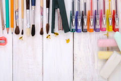 Various office supplies on a white wooden background. Professional studio photography Royalty Free Stock Photo