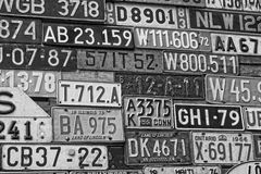Various old car license plates from around the world at the muse Stock Photos