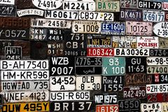 Various Old Car License Plates From Around The World At The Muse Stock Photography