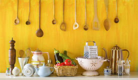 Various old kitchen utensils and vegetables. Cooking concept Royalty Free Stock Images
