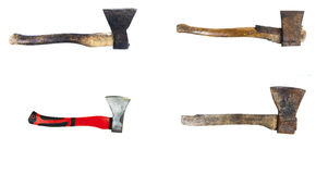 Various old and new axes isolated on white background Royalty Free Stock Images