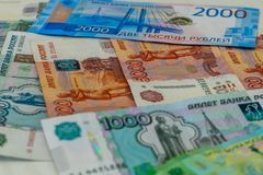 various old and new Russian banknotes close up as background stock photography