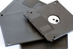 Various old obsolete 3 inch floppy disk on white. Old obsolete 3 inch floppy disk on white Royalty Free Stock Photos
