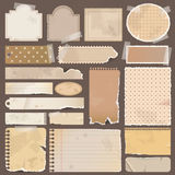 Various old remnant pieces of paper, scrapbook, an Royalty Free Stock Photography